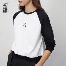 Toyouth 2020 אופנה אביב טלאים ארוך שרוול חולצות נשים עגול צוואר בסיסי למעלה מודפס טי חולצה
