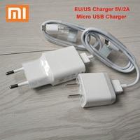 XIAOMI USB cargador 5V 2A UE/nos enchufe de adaptador de corriente USB adaptador de Cable USB a Micro USB para Mi 9 8 6 SE 5X A1 mezcla Redmi 4X 4A 5A 5 Plus nota 4X 5a