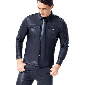 Image 4 - Mannen Faux Leather Lange Mouwen Pu Leer T shirts Mannen Sexy Fitness Tops Gay Latex T shirt Tees Mannen Sexy party Clubwear