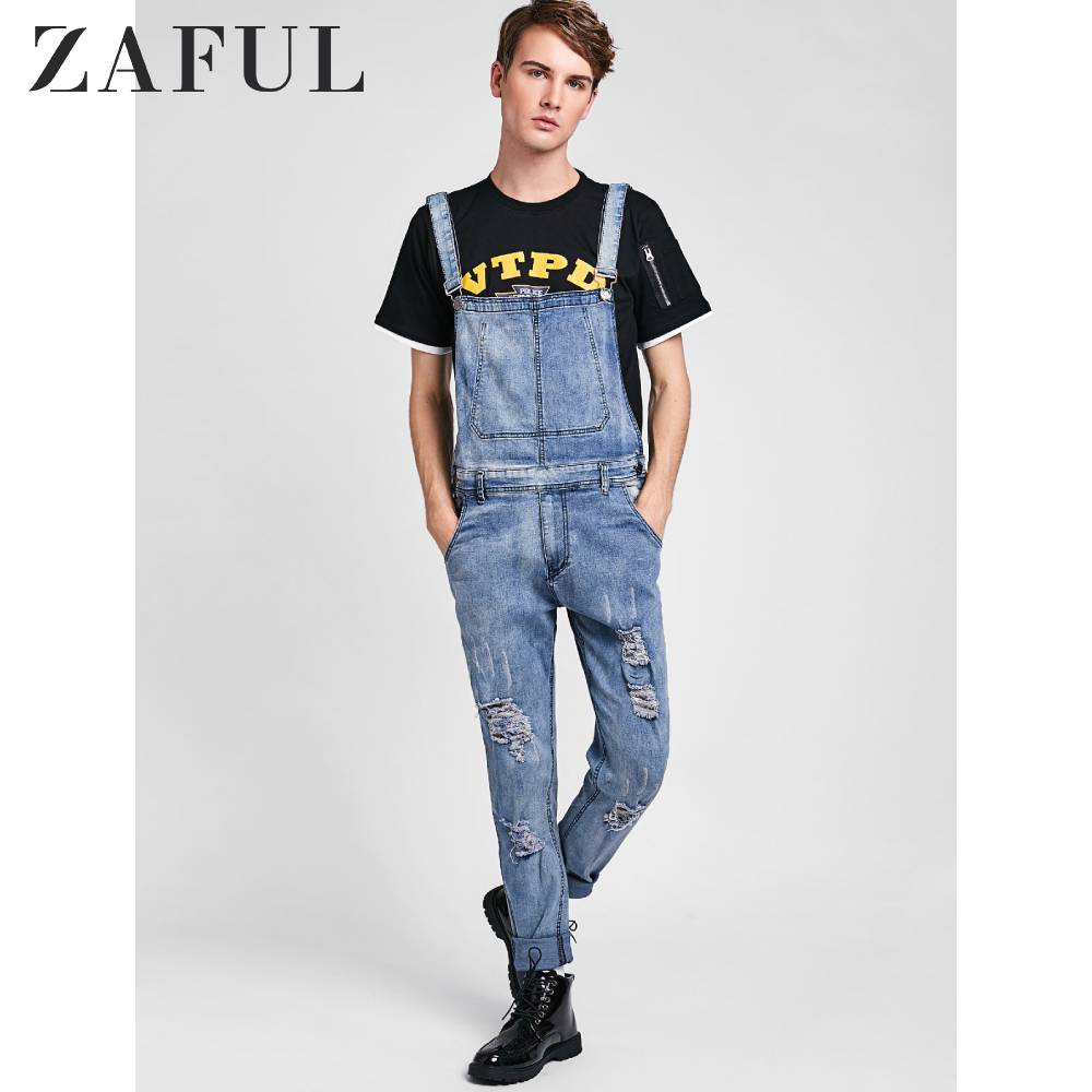 ZAFUL Distressed Zip Fly Denim Jumpsuit For Men Mid Waist Destroy Wash Hole Long Pants Autumn Spring Ripped Jeans Men Trousers