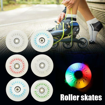 цена на Hot 4PCS Flash Inline Skate Wheels 90A LED Lighting Skating Wheels 80 76 72 68 DO2