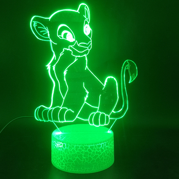 Animal The Lion King Nala 3D Lamp Cartoon Best Selling Battery Operated Touch Sensor Colorful with Remote Led Night Light Lamp the journey to decorative the west q version monkey led night light king sun wukong golden cudgell kid cartoon 3d lamp optica