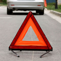 Practical Car Stop Sign Tripod Road Flasher Triangle Emergency Warning Sign Foldable Reflective Safety Roadside Lighting|Reflective Strips| |  -