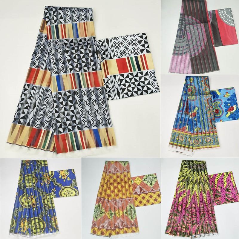 Nieuwe Afrikaanse zijde wax stof Digital printing satijn wax stof voor jurk Afrikaanse wax zijde stof met chiffon set voor party dress-in Stof van Huis & Tuin op  Groep 1