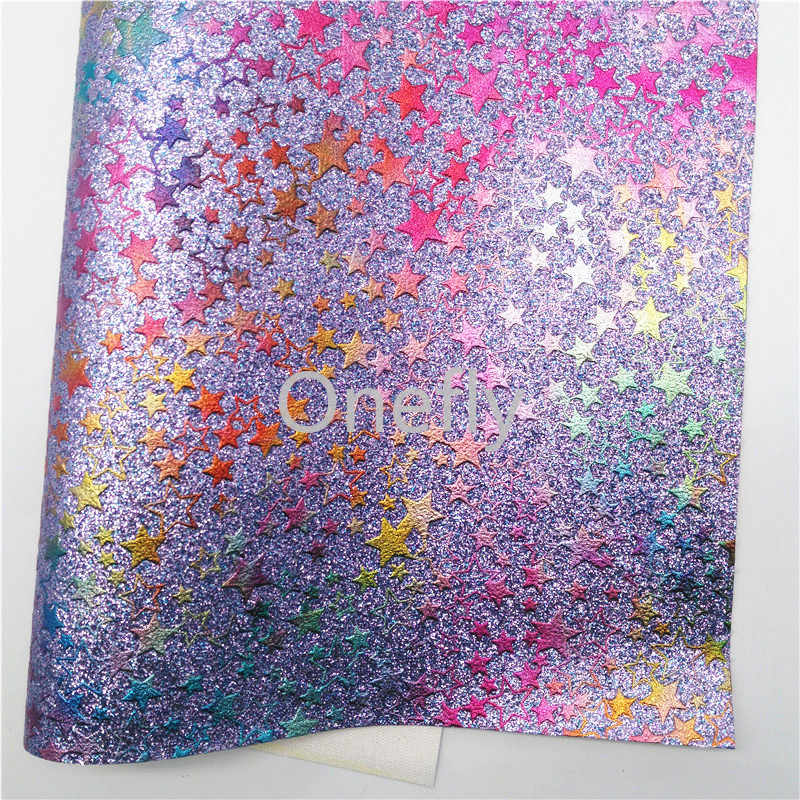 Onefly Stars Printed Glitter Leather, Faux Leather Glitter Fabric Sheets Mini Rolls For Bow DIY  handbags shoes B16-1-9