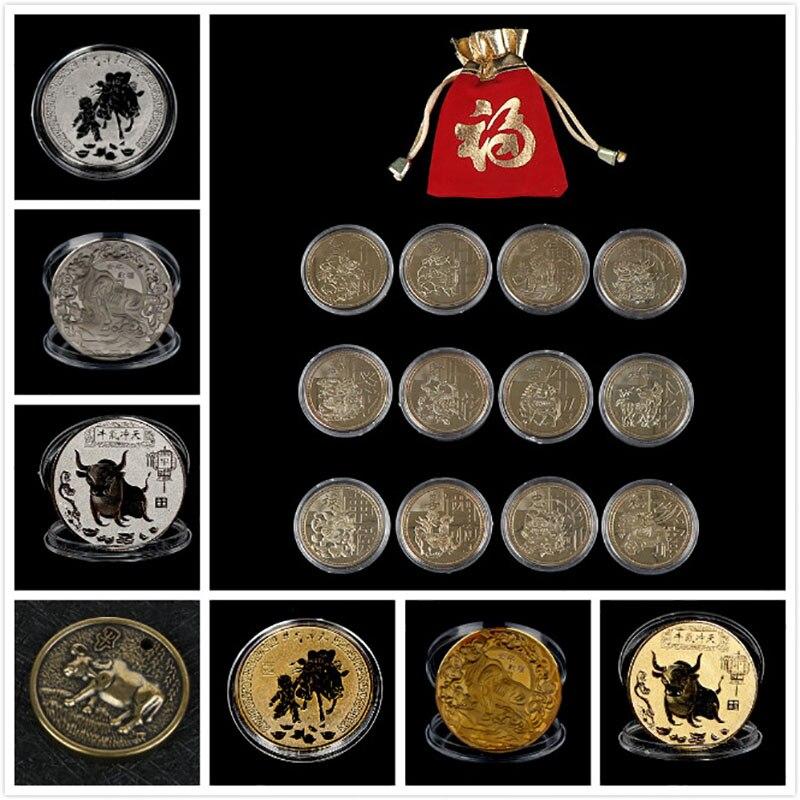 Памятная монета 2021 года быка, 1 шт., сувенирная монета с китайским знаком зодиака, необычная деталь для подарка