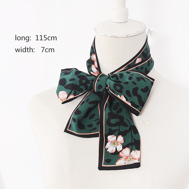 Hot Ladies   Scarf   Skinny Silk Leopard Print Floral Bandana Small Handle Bag Ribbons Female Neckerchief Head Silk   Scarves     Wraps