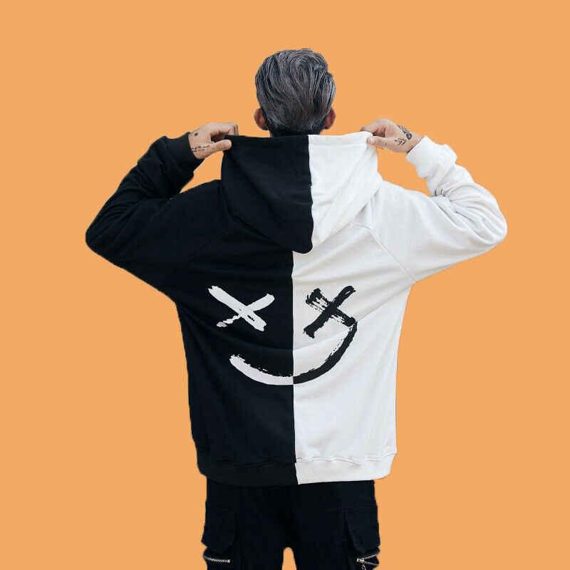ขายร้อน 2019 Cool สไตล์ผู้ชายใหม่ออกแบบ Patchwork Hip-Hop Hoodies ชายแฟชั่นแขนยาว Hooded Sweatshirt Outwear Plus ขนาด