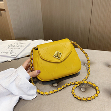 2019 PU Leather Women Messenger Bag Plaid Ladies Crossbody Bag Chain Trendy Candy Color sweet Small Flap Shopping Handbag yellow