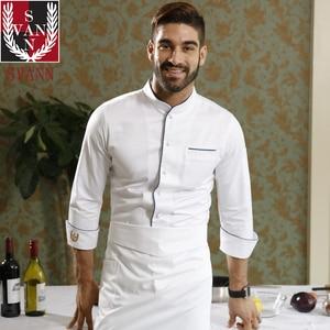 Image 2 - Usługi gastronomiczne wysokiej jakości restauracja kuchnia czystej bawełny z długim rękawem biały top fartuch szefa kuchni do gotowania konkurencji