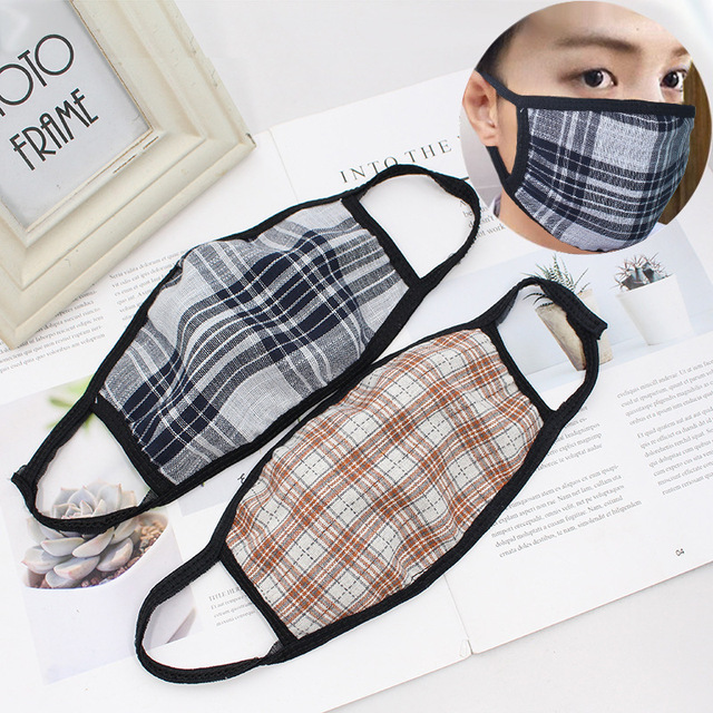 Checkered striped Cotton mouth Mask anti dust mask Windproof Mouth-muffle bacteria proof Flu face mask men women