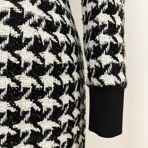 Image 5 - מסלול איכות גבוהה 2019 אופנתי מעצב שמלת נשים של האריה כפתורי שמר טוויד שמלת משבצות
