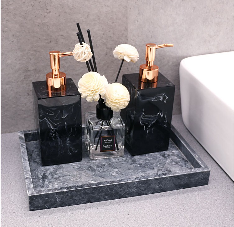 Marble Texture Bathroom Tray Accessories Set Resin Soap Dispenser Luxury Tissue Box Storage Plates Christmas Home Decoration