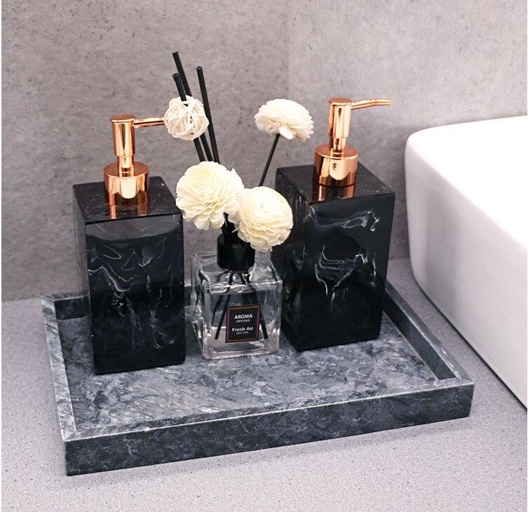 Marbre Texture salle de bain plateau accessoires ensemble résine savon distributeur luxe boîte à mouchoirs plaques de rangement décoration de la maison de noël