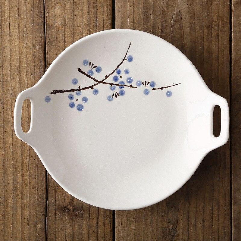 Посуда в японском стиле, керамический набор, домашняя тарелка с двойной ручкой, керамическое блюдце, креативное блюдо для закусок, салат, Обеденный Поднос - Цвет: Синий