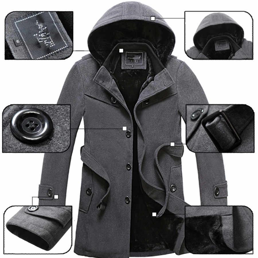 2019 Musim Dingin Mantel Pria Fashion Panjang Mantel Pria Dijual Mantel Wol Tebal Pakaian Ukuran 4XL Wol jaket BX16