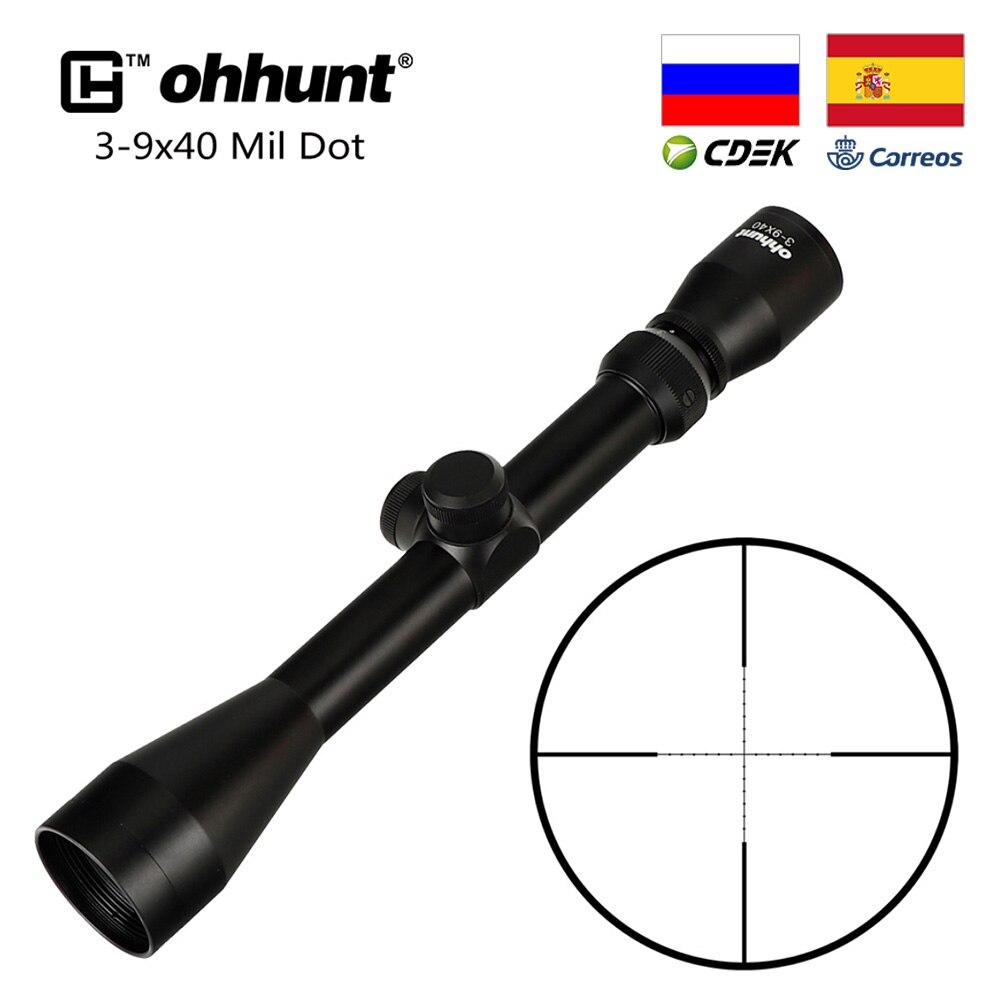 Ohhunt tático 3-9x40 óptica riflescopes rangefinder ou mil ponto retículo armas de caça rifle scope com montagem anéis