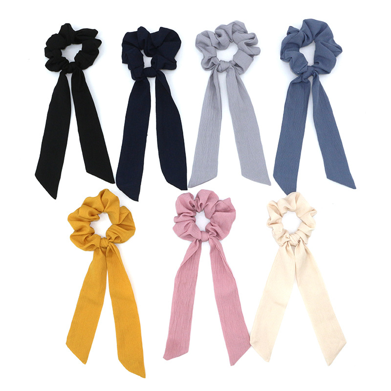 New Design Solid Women Hair Scarf Elastic Bohemian Hairband Scrunchie Bow Hair Rubber Ropes Girls Hair Ties Accessories
