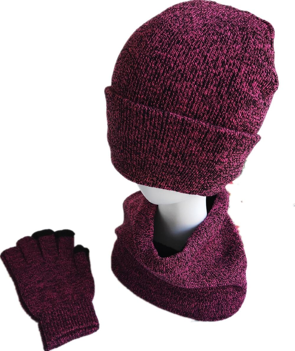 Hat Suit Autumn And Winter Men's Warm Wool Hat Scarf Gloves Three-piece