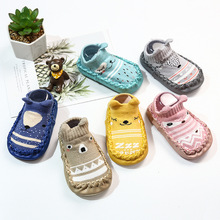Baby Newborn Floor Sock Shoes Breathable Cotton Baby Prewalker Shoe Non-slip Cute Cartoon Leather Infant First Walker Shoe