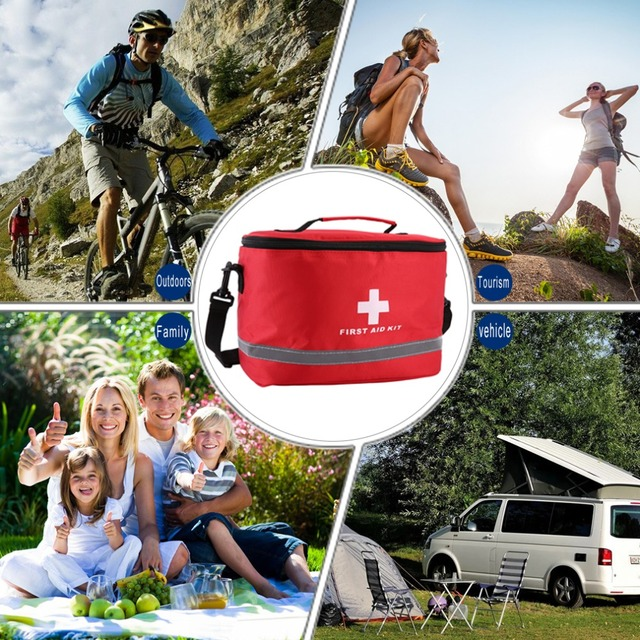 Outdoor First Aid Kit Sports Camping Bag Home Medical Emergency Survival Package Red Nylon Striking Cross Symbol Crossbody bag 2