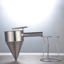 27*22*17CM Stainless steel funnel for fish ball octopus pellets making silver funnel kitchen tool included funnel holder