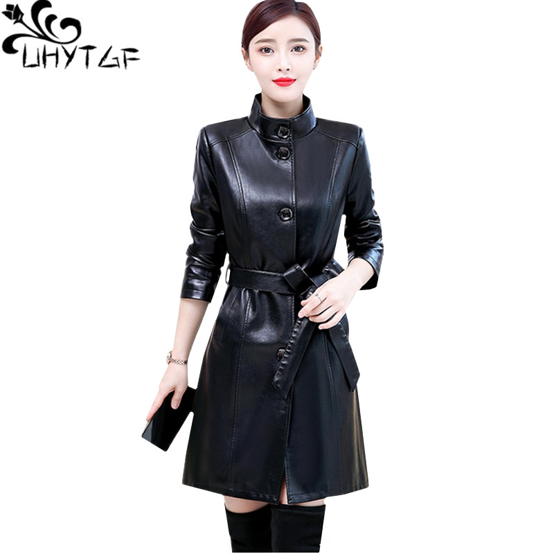 UHYTGF Quality autumn winter   leather   jacket Korean slim 5XL plus size top coat fashion belt casual   leather   windbreaker women 412