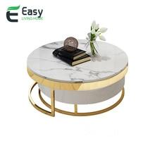 Easylife мраморный журнальный столик из нержавеющей стали простой титановый журнальный столик гостиная модный круглый стол