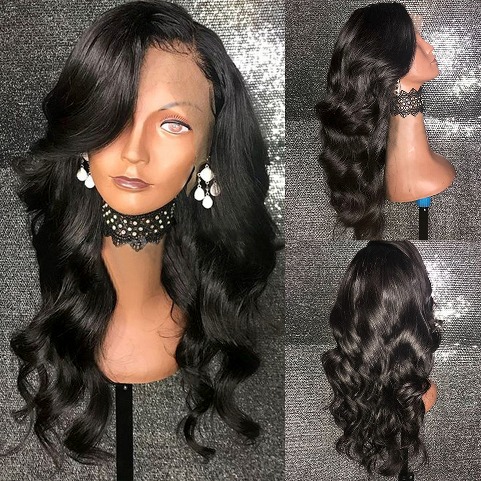 13x4 Body Wave Lace Front Human Hair Wigs For Women Natural Black Pre Plucked With Baby Hair Brazilian Remy Bleached Knots