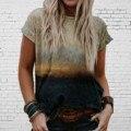 40 # летний элегантный Футболки в винтажном стиле красивый пейзаж принт с коротким рукавом размера плюс футболка с О-образным вырезом на шее, ...