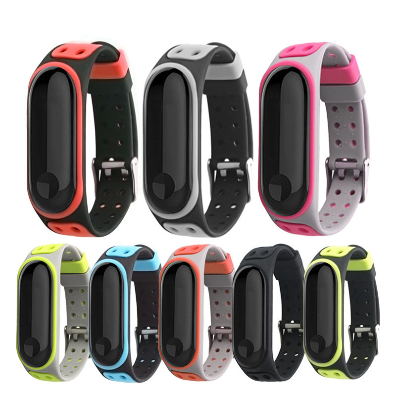 Silicone double color Double-breasted Sports wrist strap For Xiaomi Mi Band 4 3 strap Bracelet smart Accessory Miband 4 3 strap