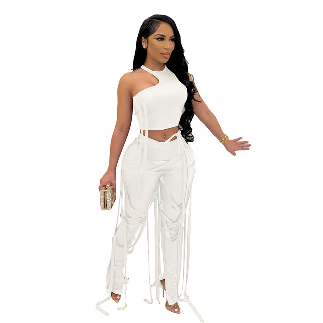 Adogirl Pu Two Piece Set Women Sexy Ribbons Cut Out Slim Crop Top+Chic Tight Pant High Streetwear Casual Night Club Outfits 4