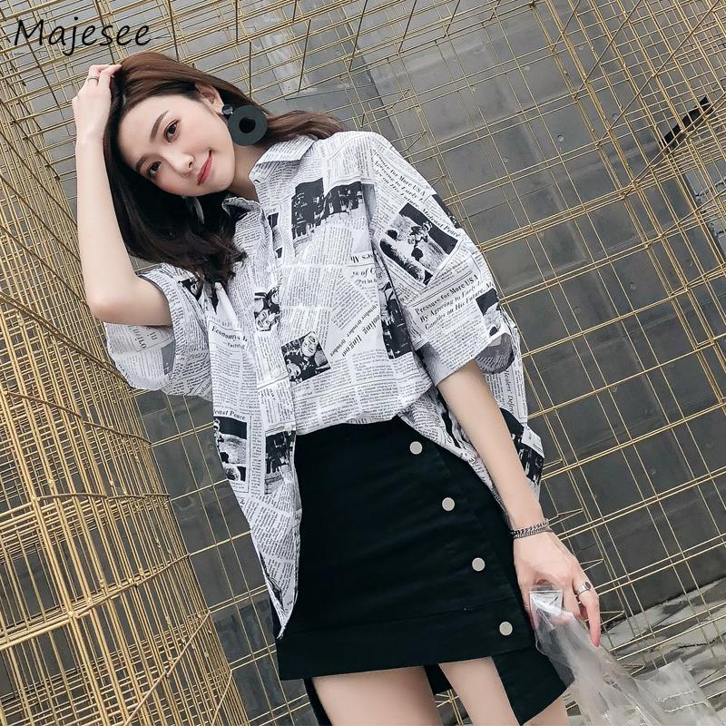 Shirts Women Plus Size 3XL Printed Long Simple BF Loose Unisex Couples Korean Style All-match Casual Daily Fashion Harajuku Chic