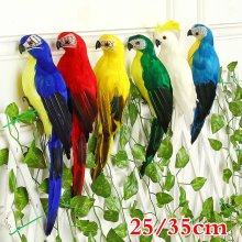 25/35cm Handmade symulacja papuga kreatywny piórko trawnik figurka ozdoba zwierząt ptak ogród ptak Prop dekoracja miniatura