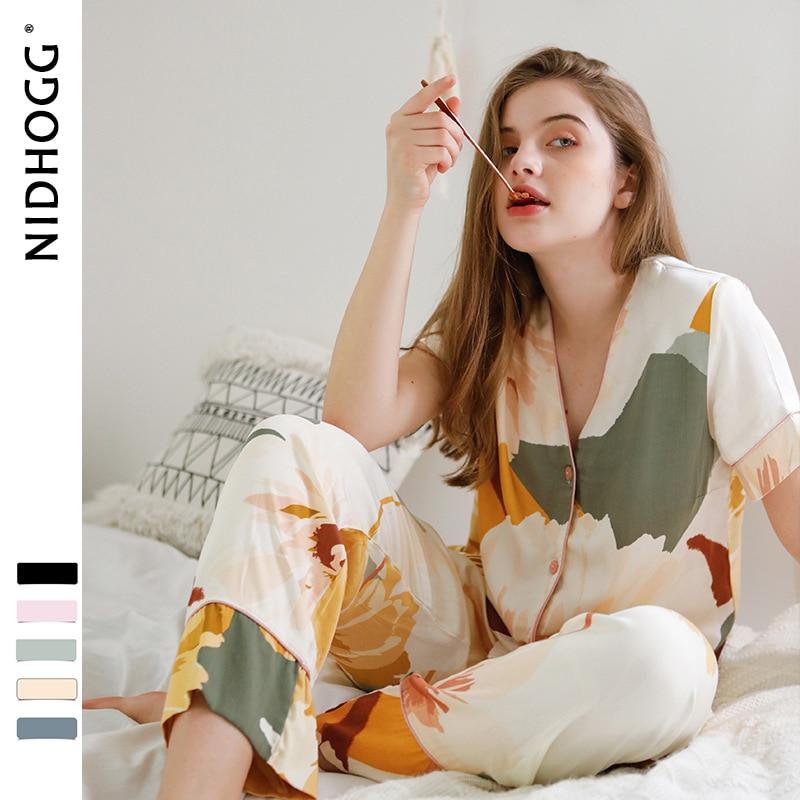 Image 5 - Women Korean V neck Ink Printing Short Sleeve Pants Pajamas Loungewear Viscose Sleepwear Sexy Satin Pijama 2 Set Sleep ClothingPajama Sets   -