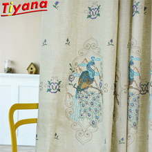 Embroidered Peacock Curtain Fabric for Living Room Chinese Style Voile Linen White Sheer Tulle WP433#40