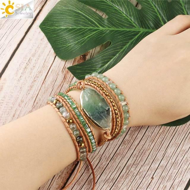 Fluorite Crystal Leather Wrap Bracelet