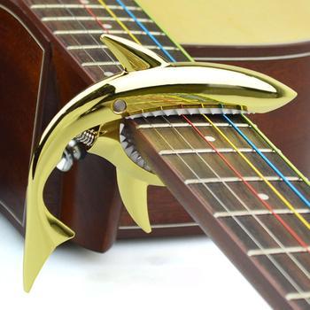 Zinc Alloy Guitar Tuning Clip Guitar Shark Capo Metal Clip for Acoustic Guitar fzone fc 70 high end aluminum alloy guitar capo silver black