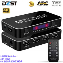 DZLST 4 In 1 HDMI-compatible Switcher 4K 2160P 60HZ HDR Out 3.5mm jack ARC IR Control For PS3 PS4 HDTV Projector 2.0 Splitter