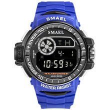 Smael Smill Men Sports Watch Outdoor Waterproof More Function Popular Luminous Single Show Electronic Watch smael brown