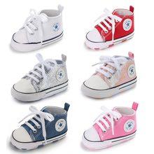 Zapatos de algodón para bebé niño y niña, con estrella estampada, zapatilla con suela suave antideslizante para recién nacido, calzado de primeros pasos de lona para bebé de sport