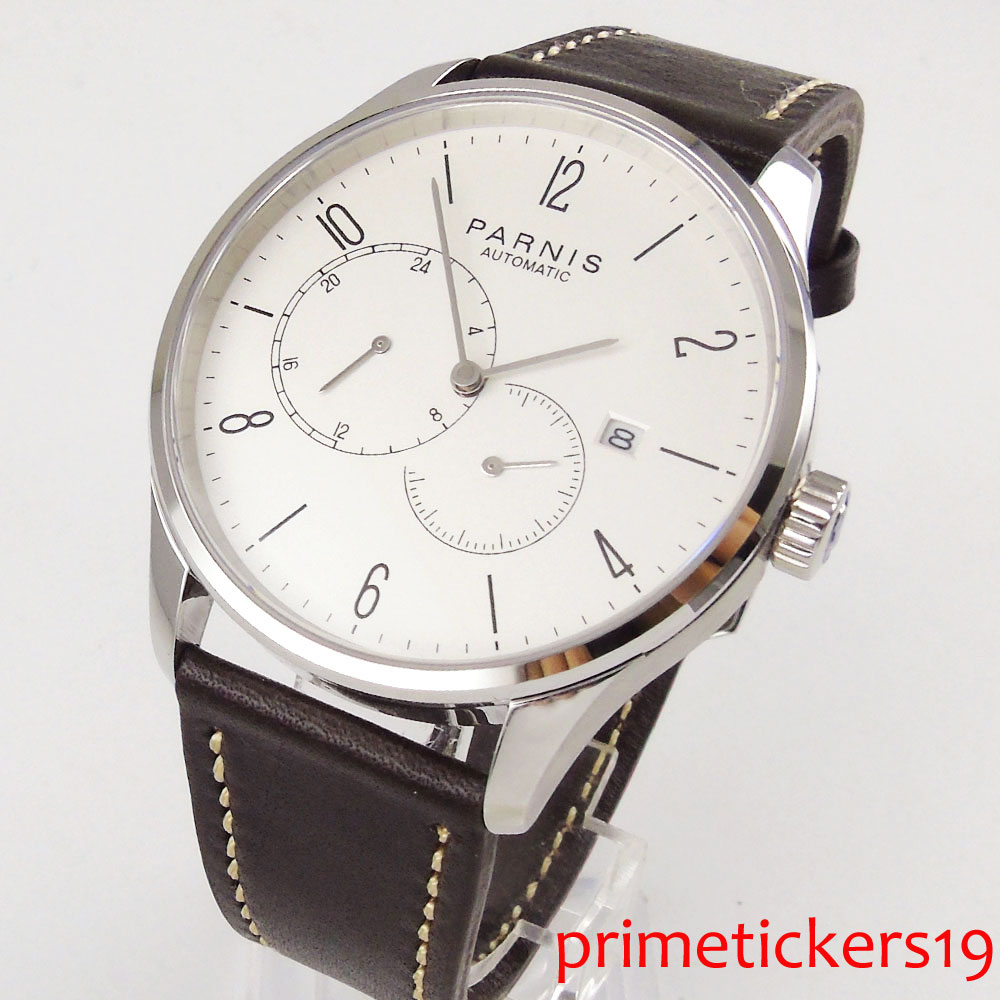 42mm PARNIS white dial sapphire glass leather strap stainless case automatic movement mens watch PA1025