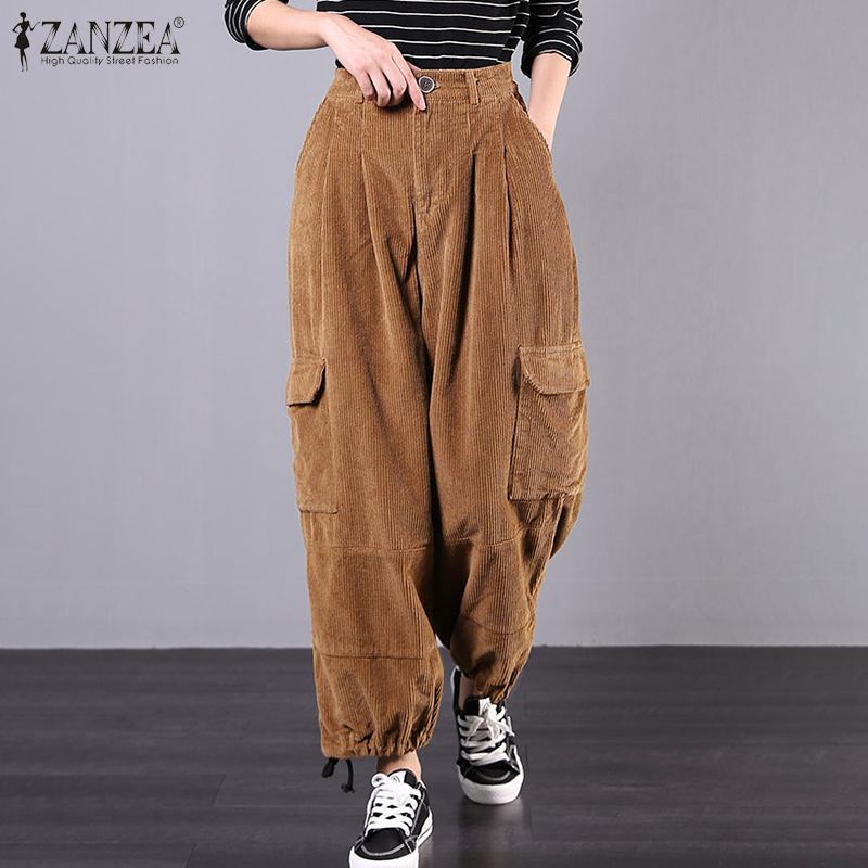 Spring Solid Corduroy Trousers ZANZEA Vintage Casual Wide Leg Pants Women High Waist Loose Long Pantalon Palazzo Robe Streetwear