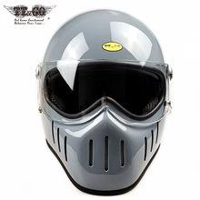 Japão tt & co thompson espírito rider rosto cheio capacetes da motocicleta retro vintage fibra de vidro cafe racer