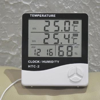 LCD czas pulpit zegary stołowe termometr higrometr miernik cyfrowy podwójna sonda czujnik temperatury zegar pogody tanie i dobre opinie alloet termometr higrometr NONE CN (pochodzenie) Thermo Hygrometer 49 ° C i Pod DIGITAL Indoor Ładowarka do zawieszenia na ścianie