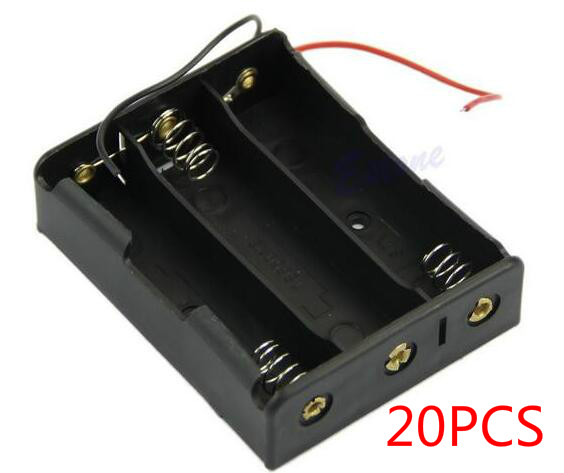 20PCS 18650 Battery Case Storage Box Case Plastic Holder With Wire Leads for <font><b>3x18650</b></font> Batteries Soldering Cnnecting Black Digital image