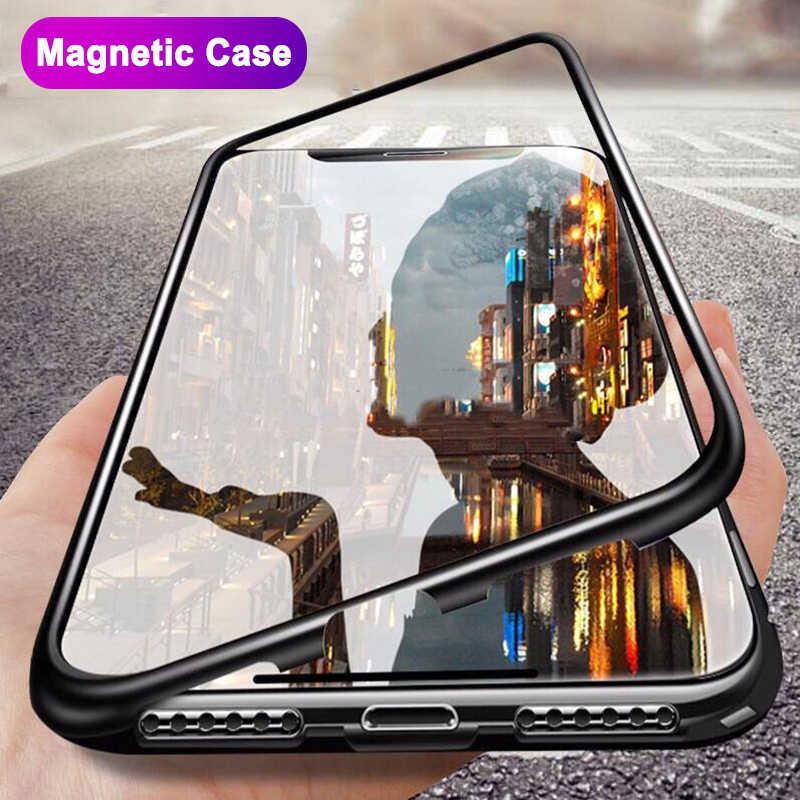 Metal Magnetic Adsorption Case For iPhone 7 8 6 6s Plus X XR Tempered Glass Back Magnet Cover For iPhone 6 6s Plus X XS Max Case