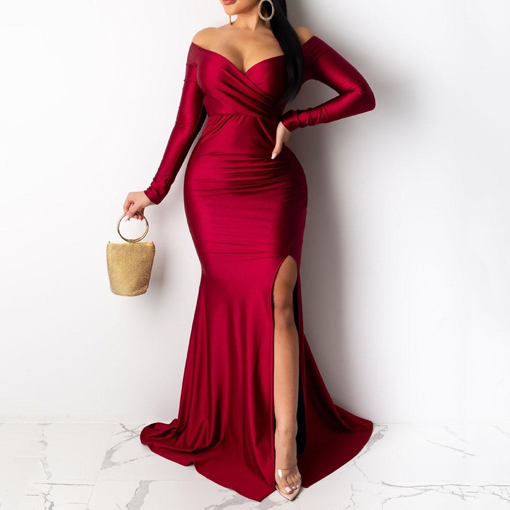 Sexy Off Shoulder Women Party Dress High Waist V-Neck Long Sleeve High Split Mermaid Long Evening Dresses Red Vintage Vestidos