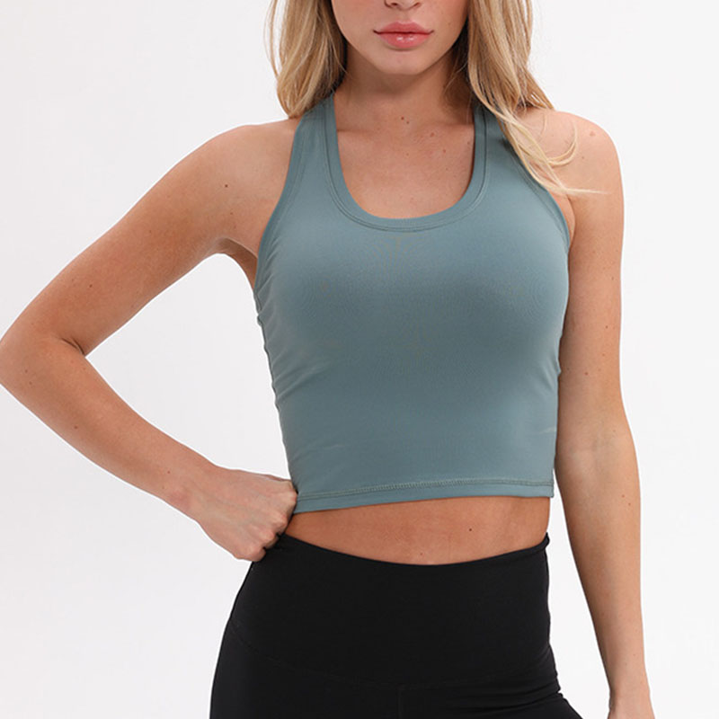Nylon Sport F Crop Tops Women Soft Material  Running Vest  Yoga Top Tank Plain Gym Jogger Workout Fitness Vest  Shirt Clothes