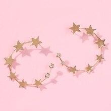 Золотые серьги-кольца со звездами для женщин, модные большие круглые серьги пентаграмма со стразами в стиле панк, большие ювелирные изделия E6732